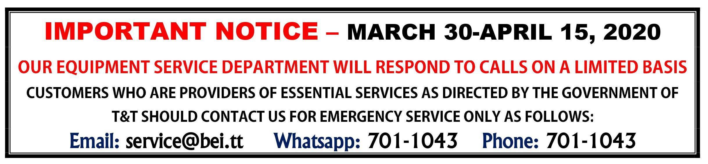 Limited Service: Mar 30-Apr 15, 2020