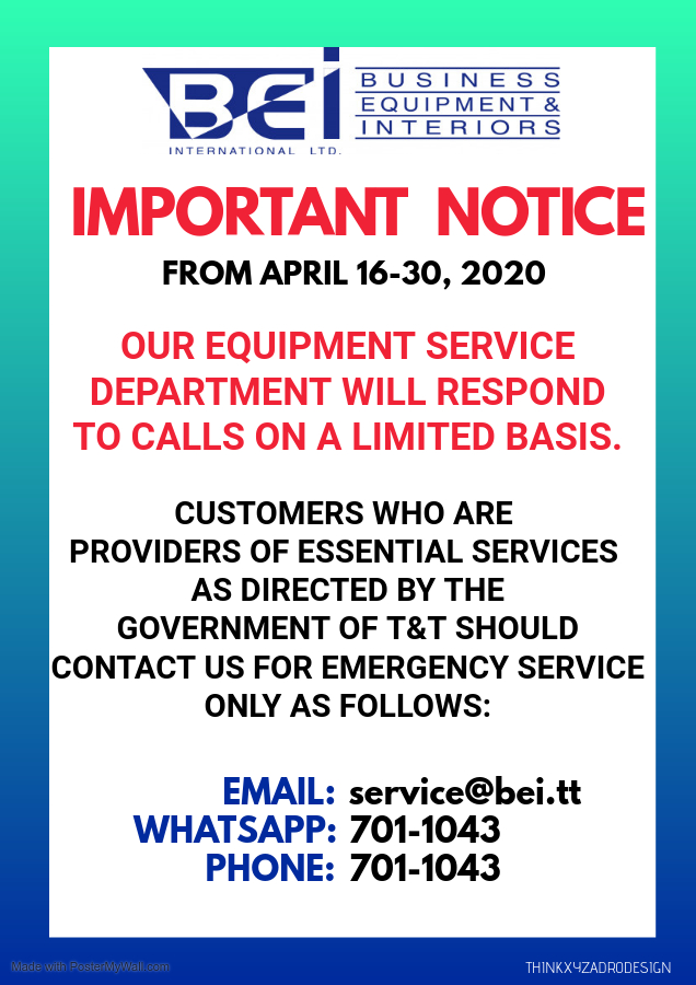 Limited Service Poster: Apr 16-30, 2020